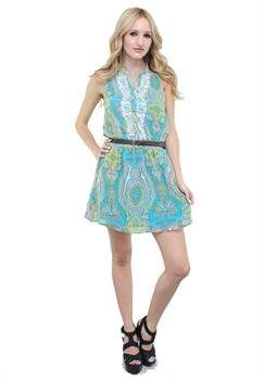 Turqouise & Green Lace Belted Dress