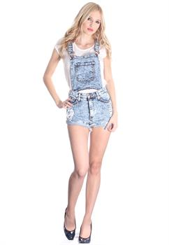 Light Blue Washed Denim Overalls