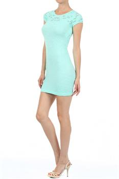 Textured stretch fit bodycon dress with decorative cutout detail