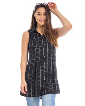 Black Checkered Button Down Pleated Tunic Shirt