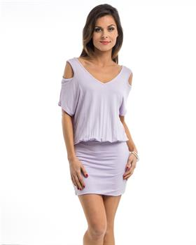 Lavender Peep Shoulder Mini Dress