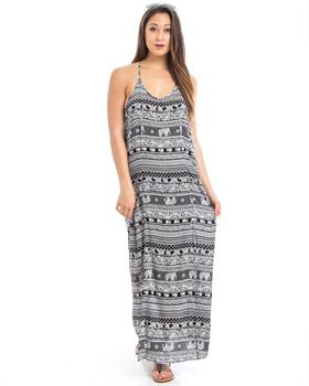 Ivory Tribal Print Side-Slit Open Back Maxi Dress