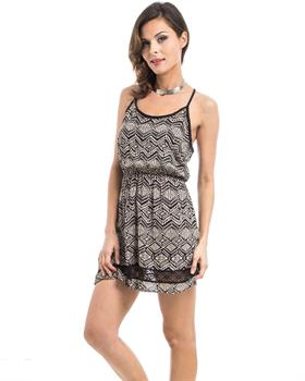 Black & Beige Tribal Print Lace Trim Strappy Dress