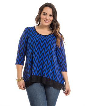 Blue Chevron Print Lace Hem Plus Size Top