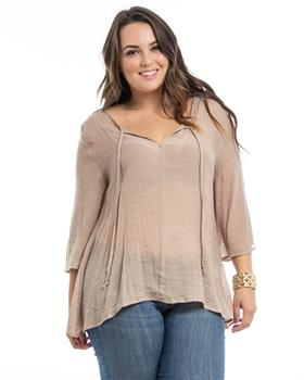 Beige Lace Back Woven Plus Size Blouse