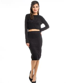 Black Knit Top & Skirt Set
