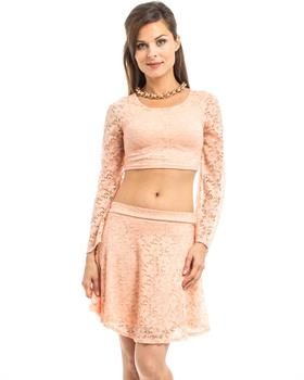 Peach Lace Skirt and Cropped Top Set