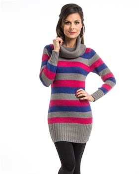 Gray Stripe Cowl Neck Tunic Sweater