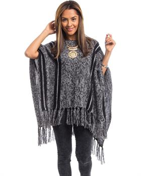 Black Striped Fringe Poncho
