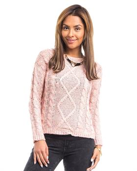 Peach Cable Knit Pullover Sweater