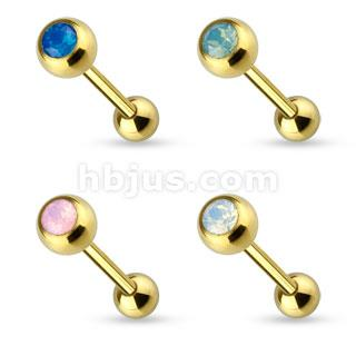 Opalite Gem Top Gold IP 316L Surgical Steel Barbell Tongue Ring